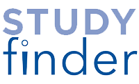 The StudyFinder logo for Penn State University is the words Study and Finder on two lines in two shades of blue. The dot over the I is an open circle, giving the appearance of the I being a person.