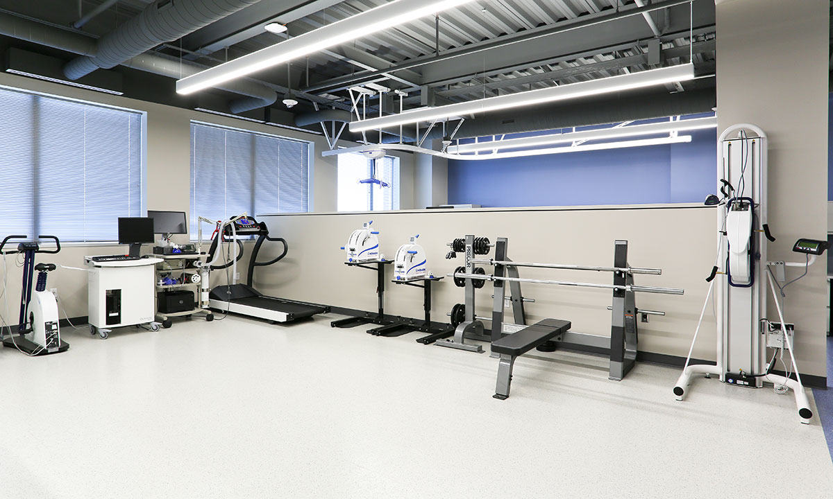 The Physical Medicine and Rehabilitation Laboratory of Dr. David Gater is seen at Penn State Health Milton S. Hershey Medical Center in October 2016. Various machines are pictured.