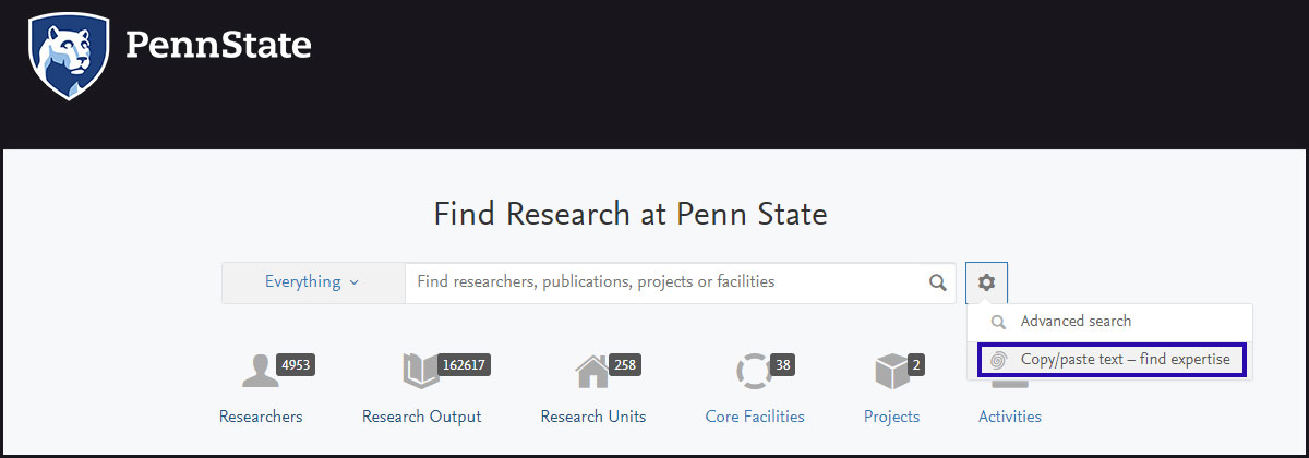 A screenshot of Pure's copy/paste text to find expertise search is seen in December 2017. The Penn State logo appears at the top left on a black background, and a search box with filtering options appears below on white. A menu indicated by a gear icon is expanded, and the option to copy/paste text is highlighted with a blue border.