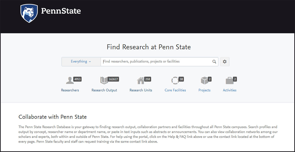 A screenshot of the Penn State Research Portal (Pure) is seen in December 2017. The Penn State logo appears at the top left on a black background. Below it, a search box and ways to filter information appear on a white background, with a general summary of the system below.