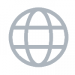 A small icon of a globe, depicted as a circle with two lines up and down and two lines sideways inside it.