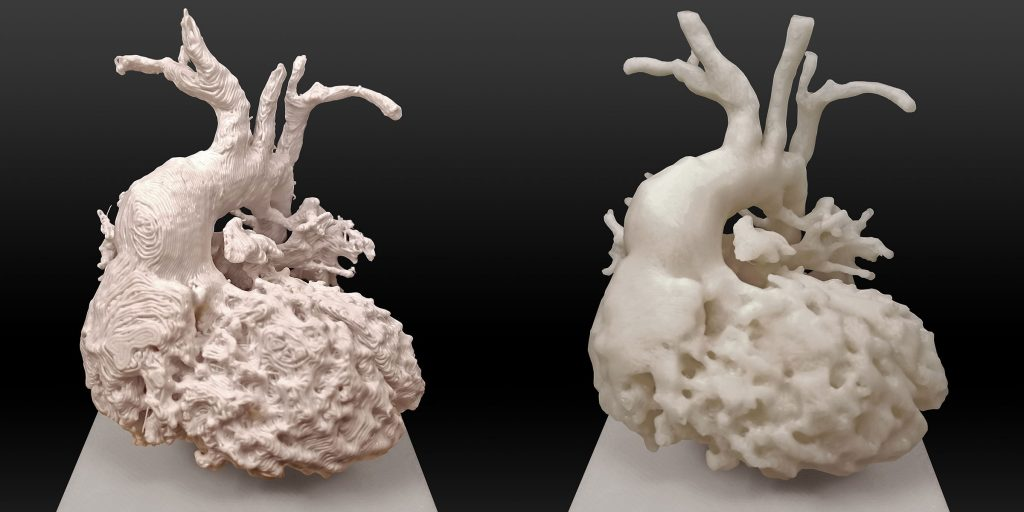 Two 3D-printed hearts are seen. The one on the left is more detailed, and the one on the right is less detailed.
