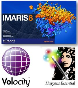 Software logos for IMARIS8 and Volocity are pictured.