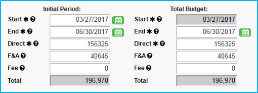 A screenshot of Penn State College of Medicine's IAF tool shows the Initial Period fields filled in with dates and dollar amounts and the Total Budget fields auto-populating with the same numbers.