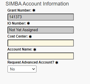 A screenshot of Penn State College of Medicine's IAF tool shows the SIMBA Account Information section filled in with details on advanced grant number, IO number, cost center, account name and more.