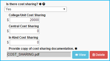 A screenshot of Penn State College of Medicine's IAF tool shows the Is there cost sharing field set to Yes, with fields filled in with dollar amounts and an upload field filled in with a sample filename.