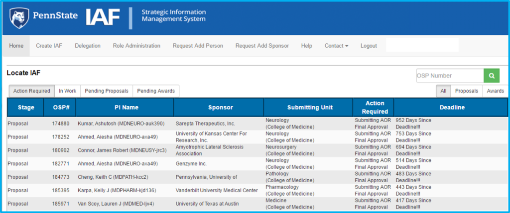 A screenshot of Penn State College of Medicine's IAF system shows the Create IAF menu item.