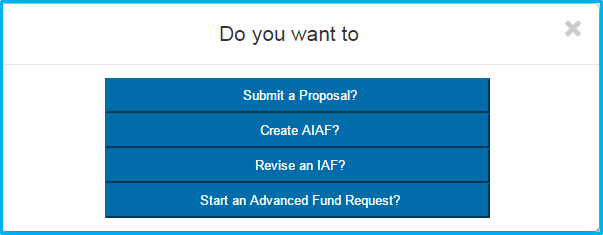 A screenshot of Penn State College of Medicine's IAF system shows a menu with four options - to submit a proposal, create AIAF, revise an IAF or start an advanced fund request.