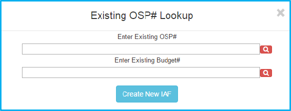 A screenshot of Penn State College of Medicine's IAF system shows a search box with fields to enter existing OSP number or existing budget number, and a button that says Create New IAF.