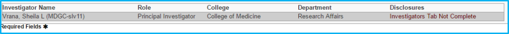 A screenshot of Penn State College of Medicine's IAF tool shows the Disclosures tab with fields about the investigator filled in.