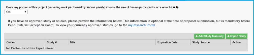 A screenshot of Penn State College of Medicine's IAF tool shows the Human Subjects section with yes selected and further information requested.
