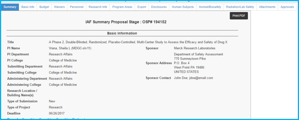 A screenshot of Penn State College of Medicine's IAF system shows a listing of basic information about an in-progress IAF. The field names are bolded with the information provided in them listed beside them.