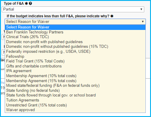 A screenshot of Penn State College of Medicine's IAF tool shows a dropdown listing reasons why a budget might indicate less than full F&A.