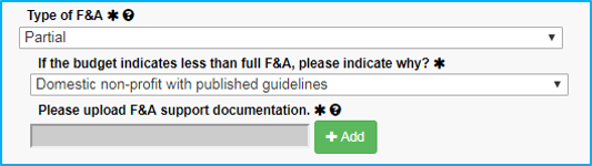 A screenshot of Penn State College of Medicine's IAF tool shows Domestic non-profit with published guidelines selected as the reason for less than full F&A and then shows an upload field for supporting documentation.