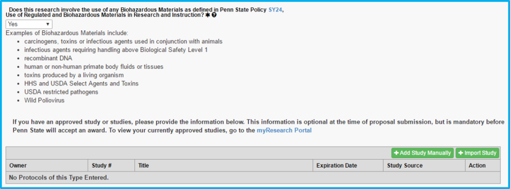 A screenshot of Penn State College of Medicine's IAF tool shows the Animal/Biosafety section with yes selected to biohazardous materials being used and further information requested.