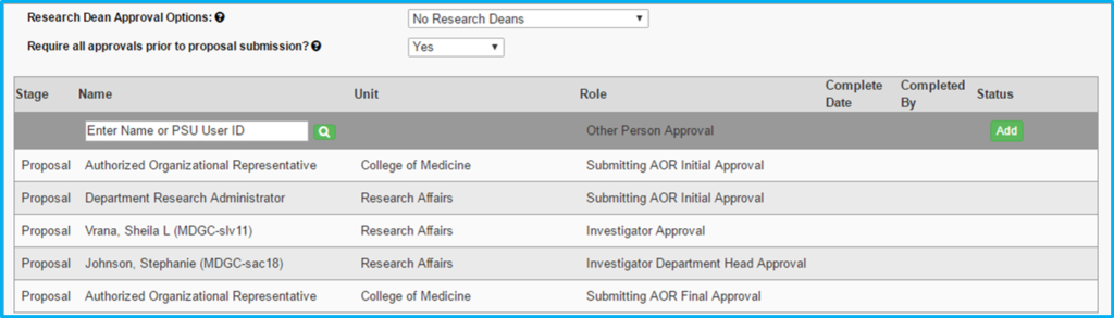 A screenshot of Penn State College of Medicine's IAF tool shows the Approvals section listing the personnel who are required to approve it and the status of their approval.