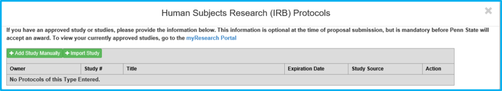 A screenshot of Penn State College of Medicine's IAF tool shows the compliance approval add/import box with buttons to import a study or add one manually.