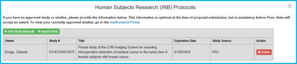 A screenshot of Penn State College of Medicine's IAF tool shows the Import Study section with a specific study's information listed.
