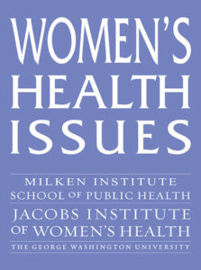 The cover of the Women's Health Issues journal includes its name and the name of the sponsoring institutions.