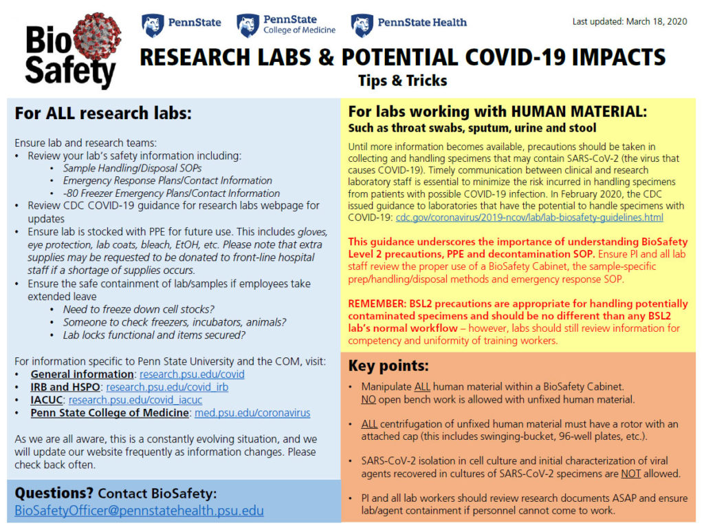 An image of the printable flyer titled Research Labs and Potential COVID-19 impacts. The content of the flyer appears on the page as text.