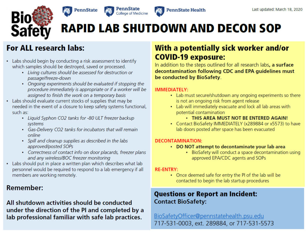 An image of the printable flyer titled Rapid Lab Shutdown and Decon SOP. The content of the flyer appears on the page as text.