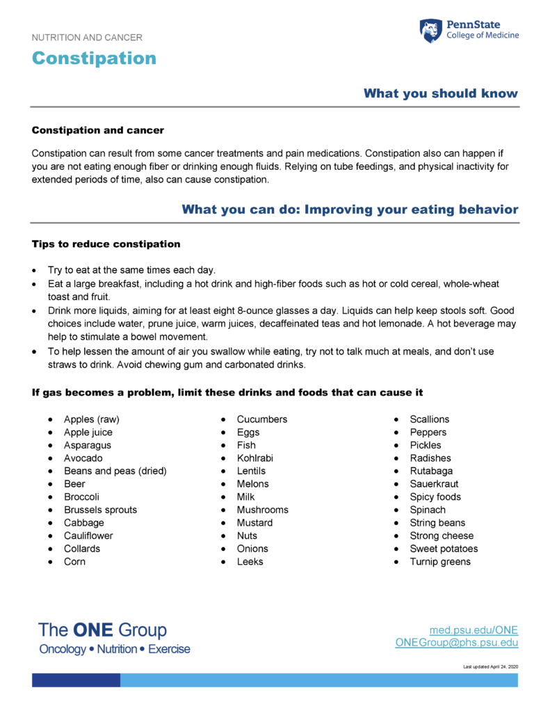 The constipation guide from The ONE Group includes the information on this page, formatted for print.
