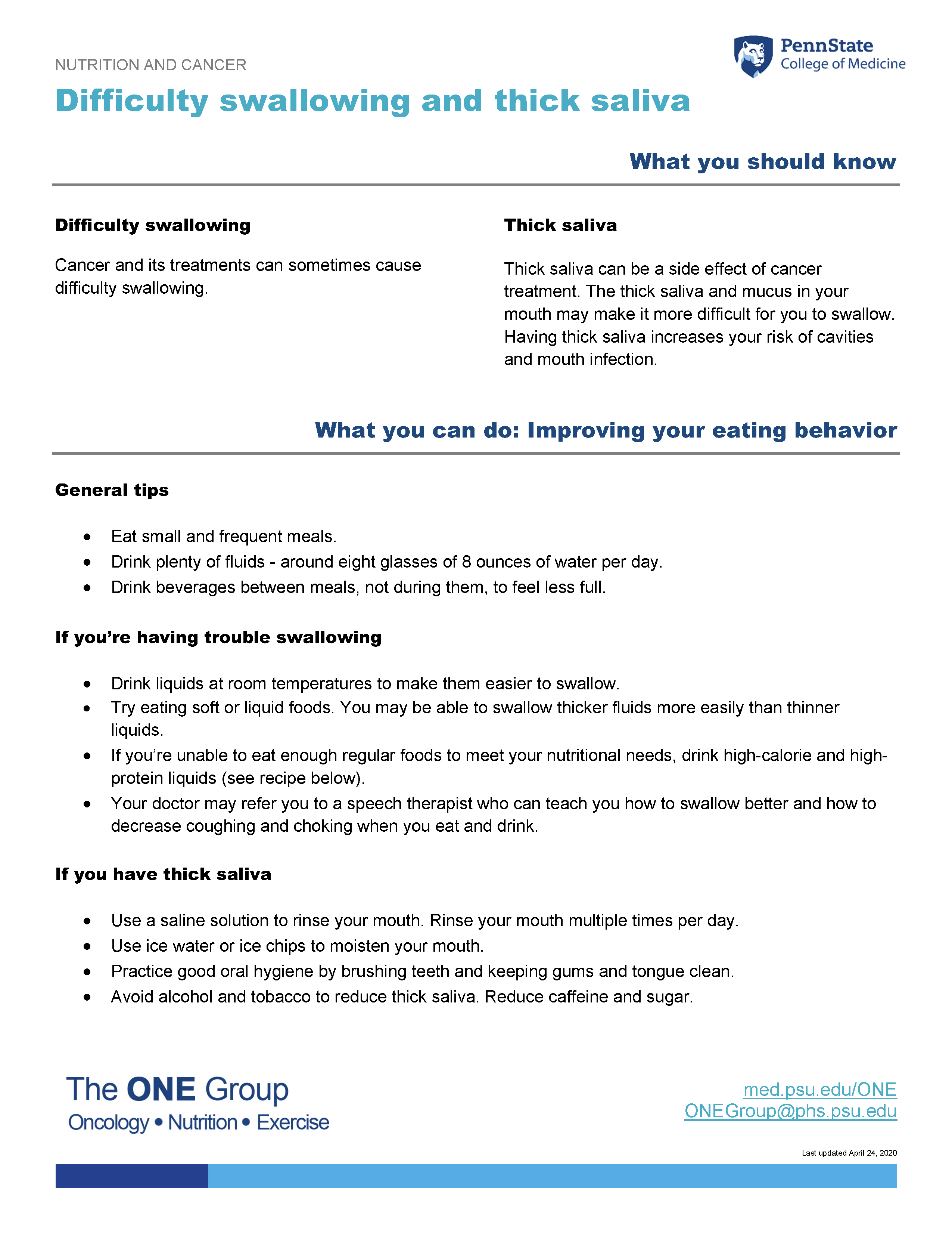 The difficulty swallowing and thick saliva guide from The ONE Group includes the information on this page, formatted for print.