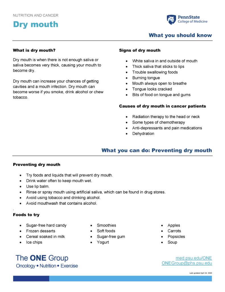 The dry mouth guide from The ONE Group includes the information on this page, formatted for print.