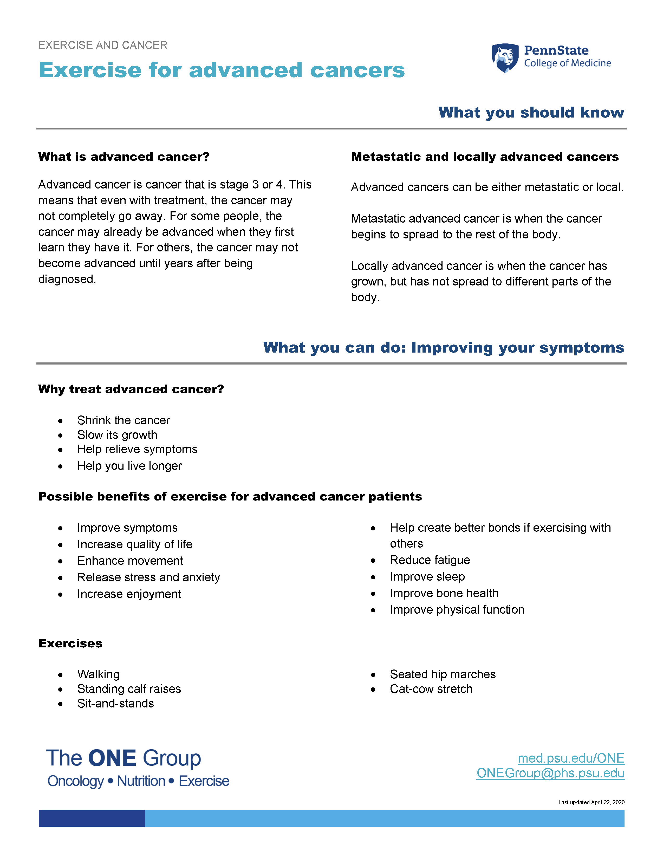 The exercise for advanced cancers guide from The ONE Group includes the information on this page, formatted for print.