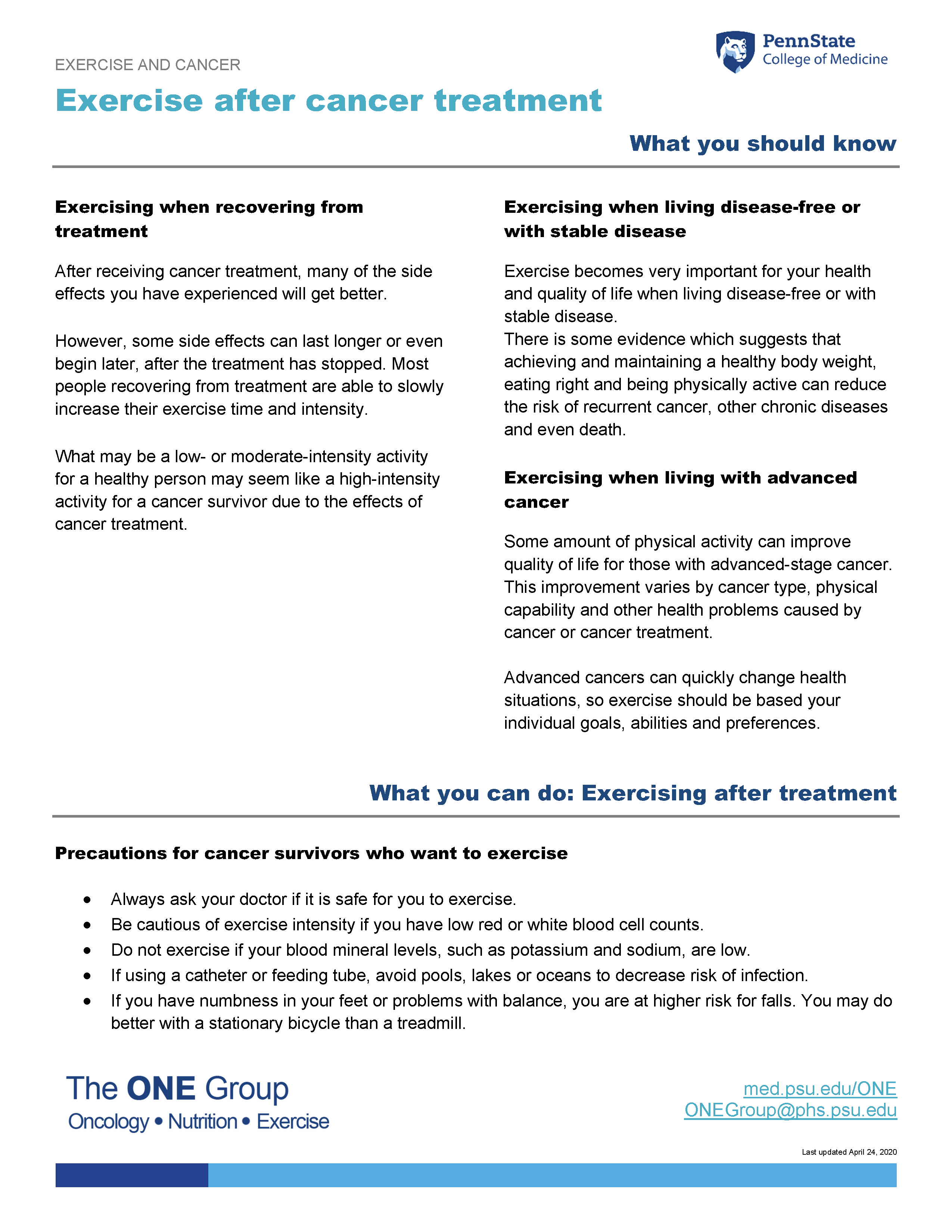 The exercise after cancer treatment guide from The ONE Group includes the information on this page, formatted for print.