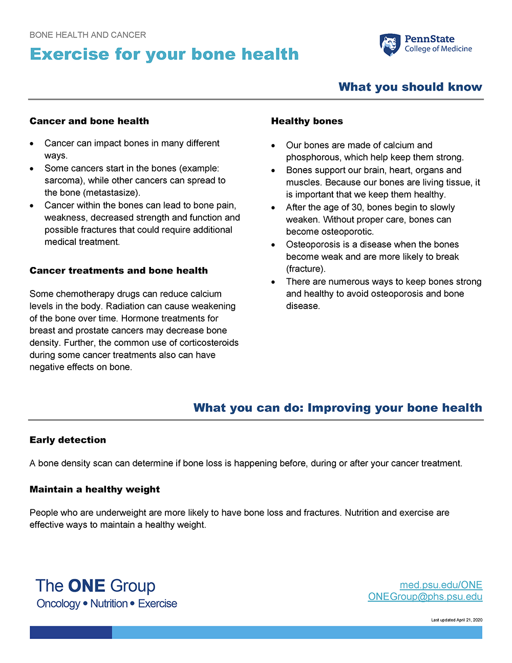 The exercise and bone health guide from The ONE Group includes the information on this page, formatted for print.