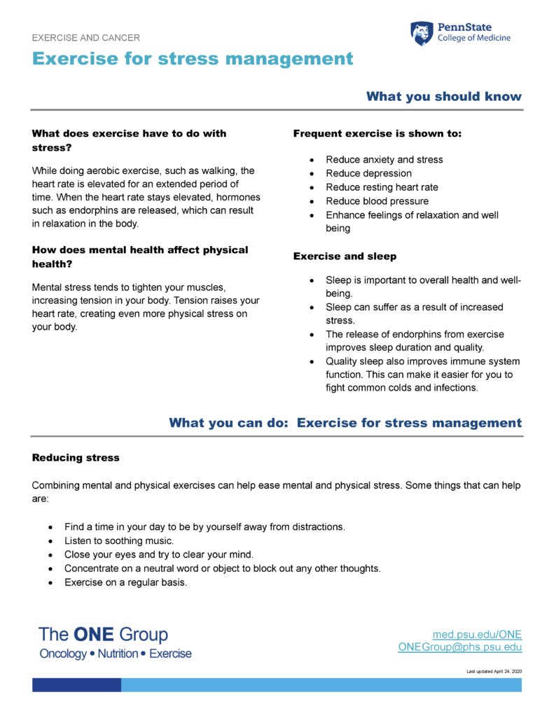 The exercise for stress management guide from The ONE Group includes the information on this page, formatted for print.