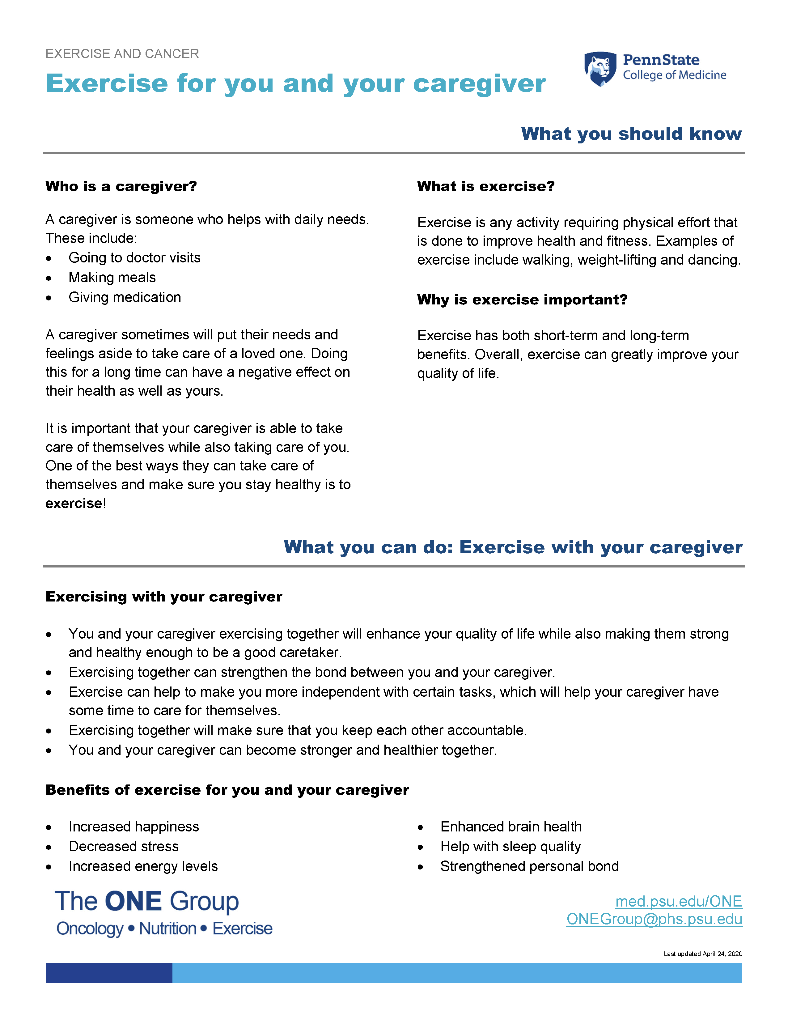 The exercise for you and your caregiver guide from The ONE Group includes the information on this page, formatted for print.