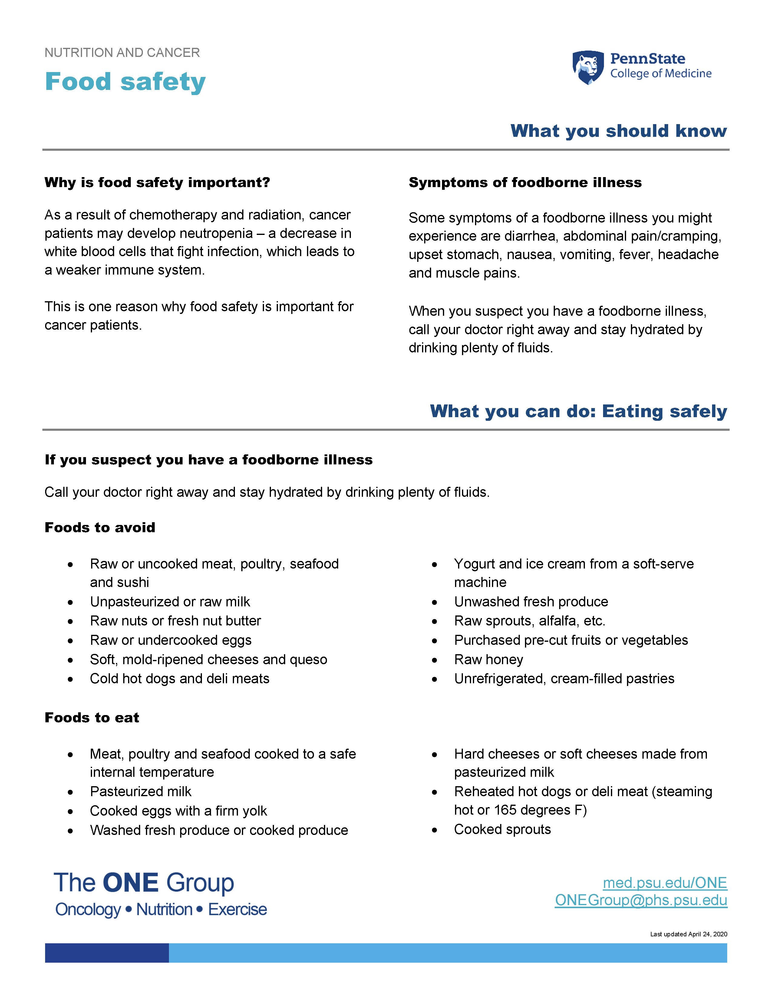 The food safety guide from The ONE Group includes the information on this page, formatted for print.