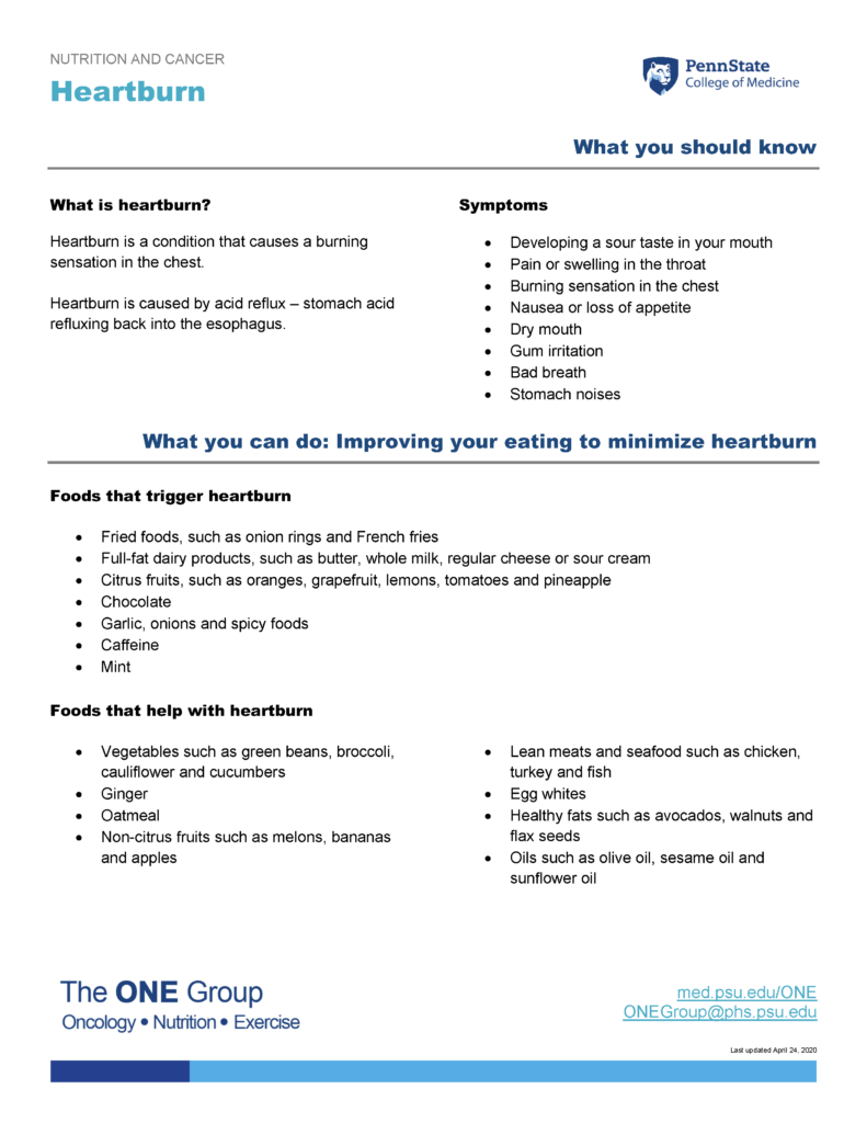 The heartburn guide from The ONE Group includes the information on this page, formatted for print.