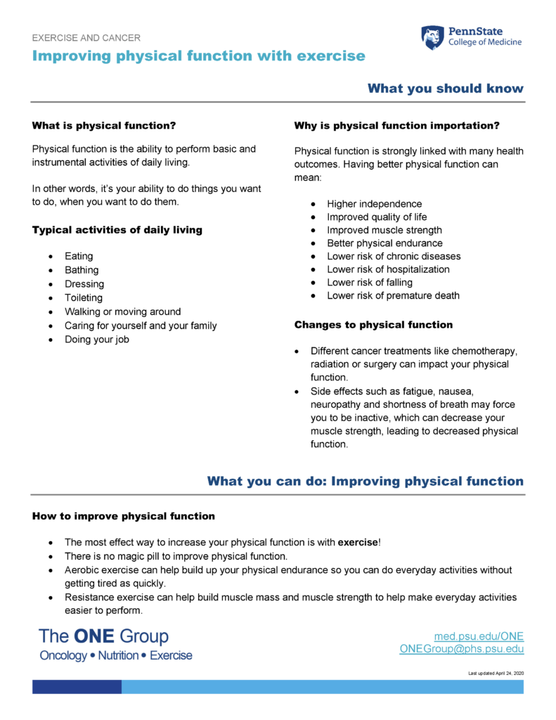 The improving physical function with exercise guide from The ONE Group includes the information on this page, formatted for print.