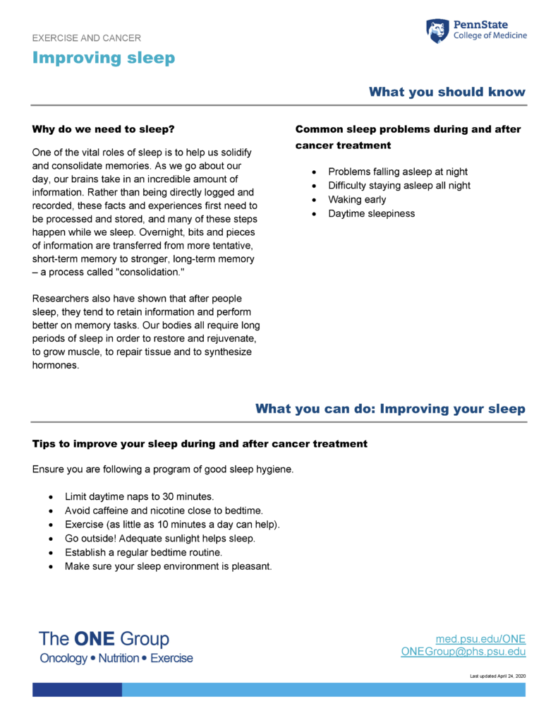 The improving sleep guide from The ONE Group includes the information on this page, formatted for print.