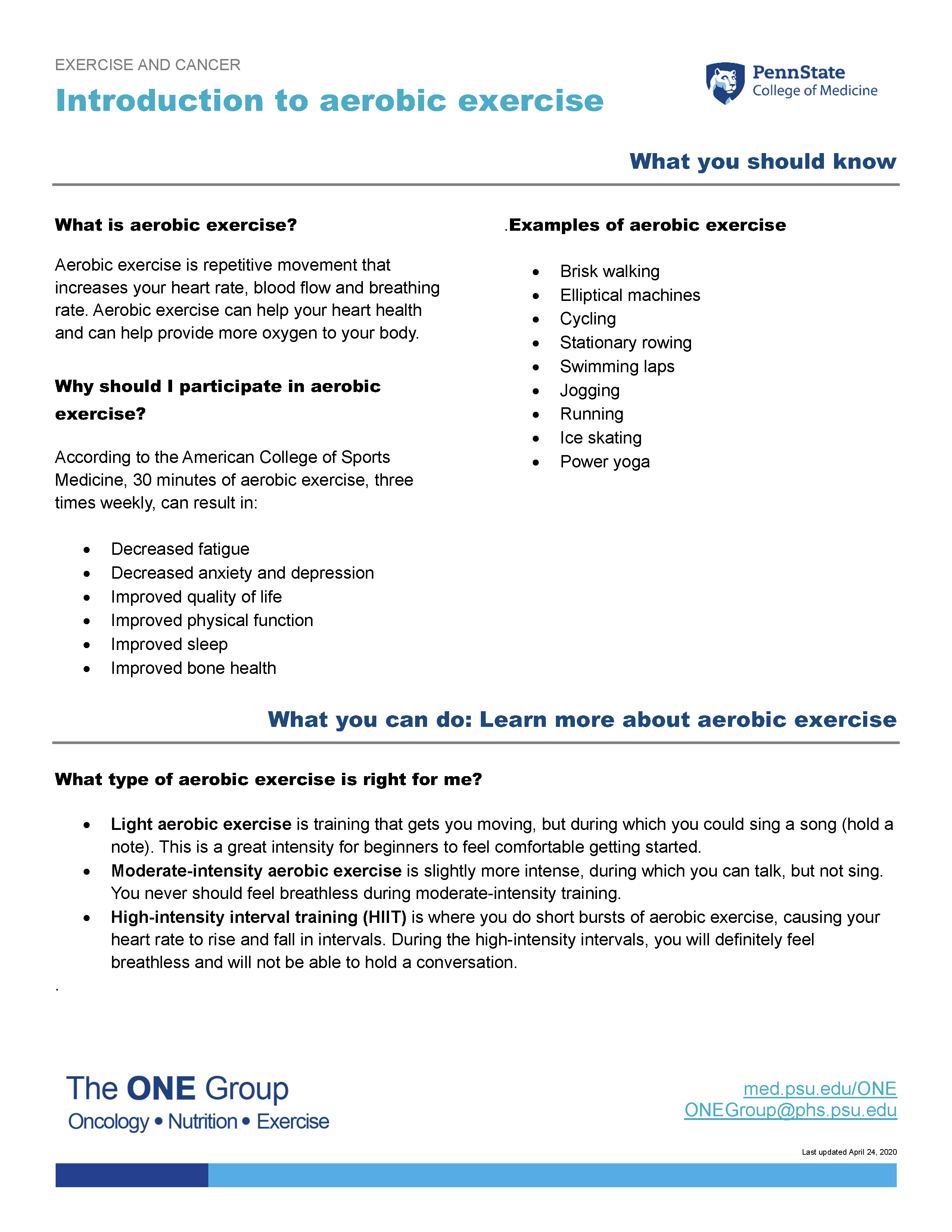 The introduction to aerobic exercise guide from The ONE Group includes the information on this page, formatted for print.