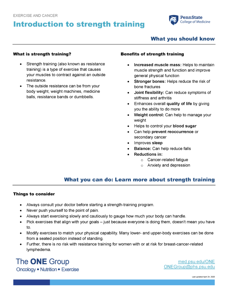 The introduction to strength training guide from The ONE Group includes the information on this page, formatted for print.