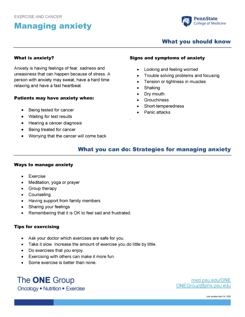 The managing anxiety guide from The ONE Group includes the information on this page, formatted for print.