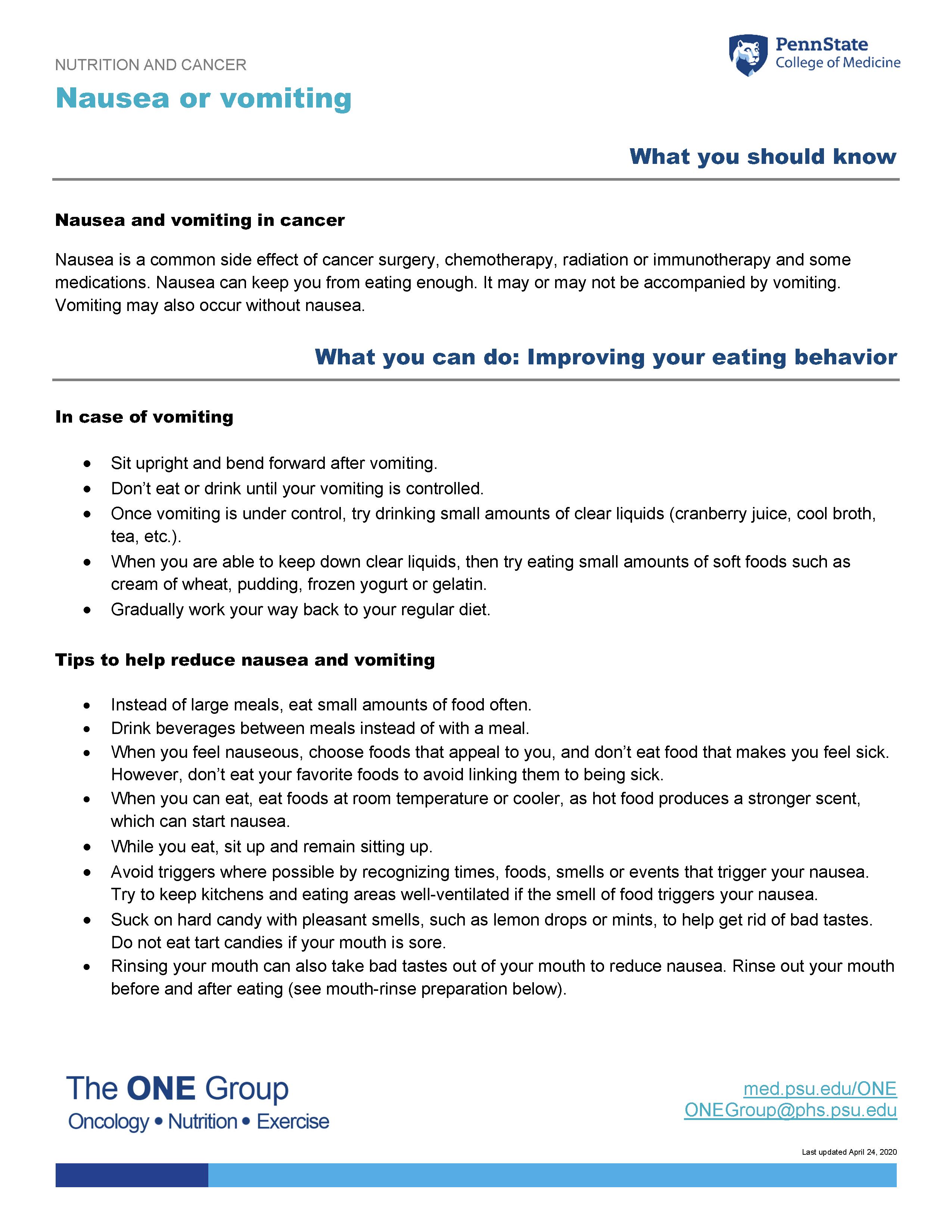 The nausea or vomiting guide from The ONE Group includes the information on this page, formatted for print.