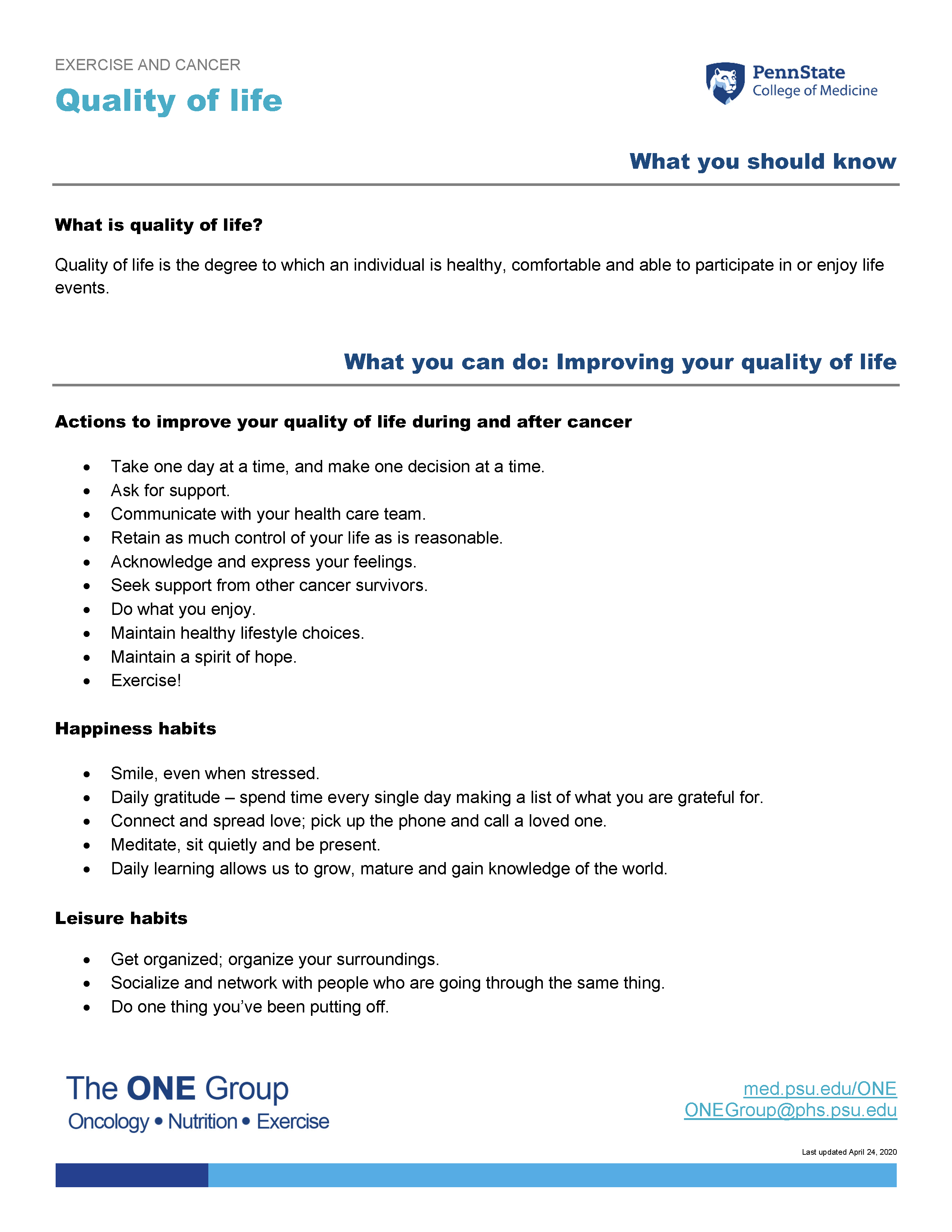 The quality of life guide from The ONE Group includes the information on this page, formatted for print.