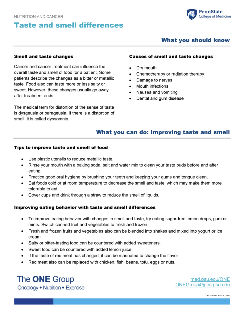 The taste and smell differences guide from The ONE Group includes the information on this page, formatted for print.