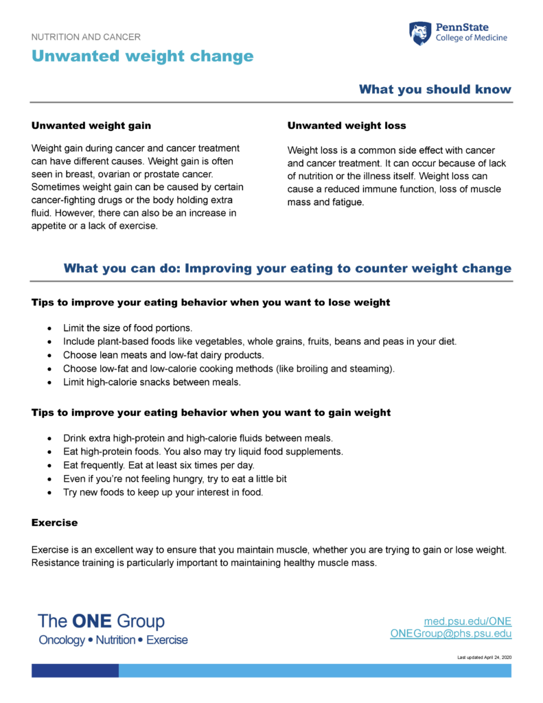 The unwanted weight change guide from The ONE Group includes the information on this page, formatted for print.