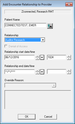 A screenshot shows a step in the Cerner Relationship Management Tool relationship-adding process. A popup box is shown.