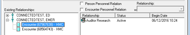 A screenshot shows a step in the Cerner Relationship Management Tool relationship-adding process. A screen divided into a left side and right side is shown.