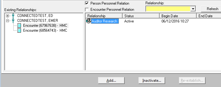 A screenshot shows a step in the Cerner Relationship Management Tool relationship-modifying process. A box divided into two parts is shown.