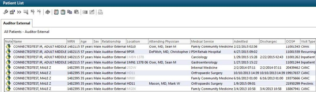 A screenshot shows a step in the process research external reviewers use in Penn State Health Milton S. Hershey Medical Center's PowerChart tool. A listing of information about a patient encounter is shown using test data.