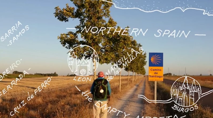An image from the Phil's Camino film shows a man walking on a path through an open field with a sign that says Camino de Santiago. Some names of cities are overlaid on the photo.