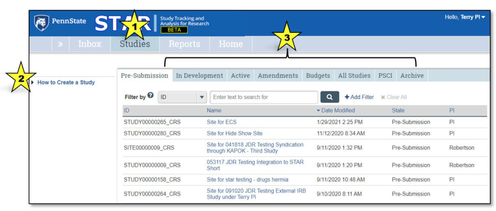 A screenshot of the STAR studies page includes colored stars with numbers. 1 is over the word STAR at the top. 2 is over How to Create a Study at left. 3 is over a set of tabs that include Pre-Submission, In Development, Active, Amendments, Budgets, All Studies, PSCI and Archive.